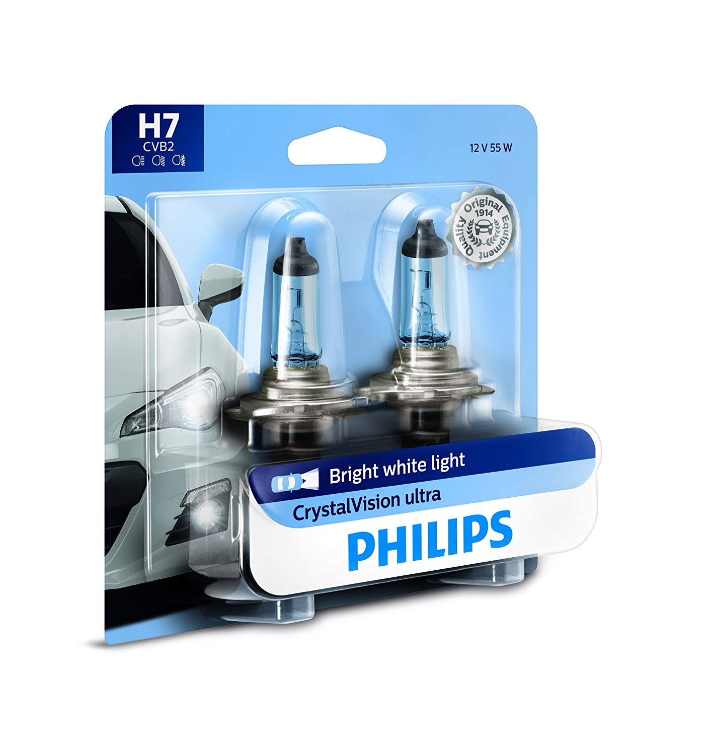 Philips H7 CrystalVision Ultra Upgrade Bright White Bulb