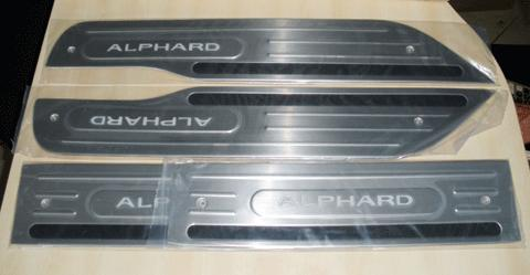 Toyota Alphard 2008-on Blue LED Door Sill Plates (Broad)